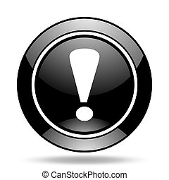 exclamation sign black glossy icon