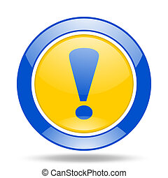exclamation sign blue and yellow web glossy round icon