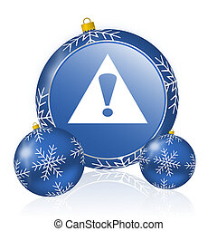 Exclamation sign blue christmas balls icon