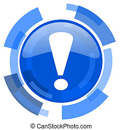 exclamation sign blue glossy circle modern web icon