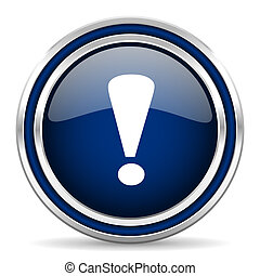 exclamation sign blue glossy web icon
