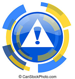 exclamation sign blue yellow glossy web icon