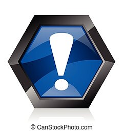 Exclamation sign dark blue glossy hexagon geometric diamond vector web icon with reflection on white background. Modern design hexagonal internet button.