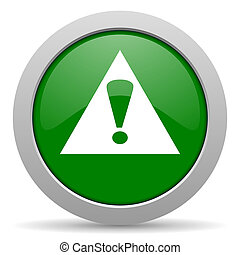 exclamation sign green glossy web icon