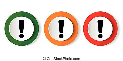 Exclamation sign icon set, red, green and orange flat design web buttons isolated on white background, vector illustration