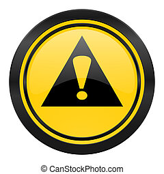 exclamation sign icon, yellow logo, warning sign, alert...
