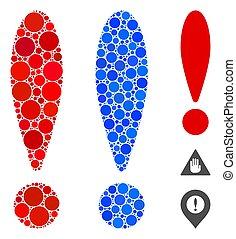 Exclamation Sign Mosaic Icon of Circle Dots