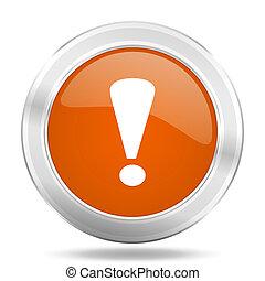 exclamation sign orange icon, metallic design internet button, web and mobile app illustration