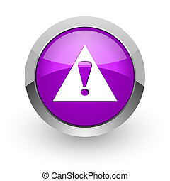 exclamation sign pink glossy web icon