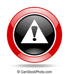 exclamation sign red and black web glossy round icon