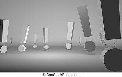 Exclamation signs in chrome over white background -...