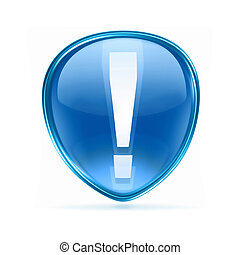 Exclamation symbol icon blue, isolated on white background