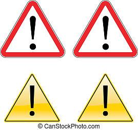 exclamation, symbole, étiquette avertissement, signe