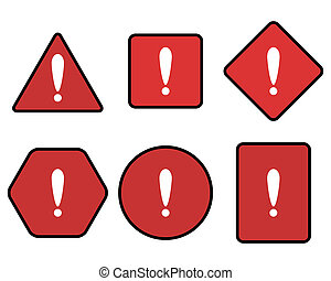 exclamation, symbole, ensemble, avertissement, rouges