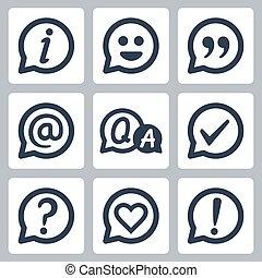 exclamation, symboles, citation, information, coeur, marque, question, e-mail, checkmark, faq, vecteur, parole, set:, bulles, marque, sourire, icône