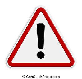 exclamation, triangle, danger, -, isolé, signe, arrière-plan rouge, blanc, route