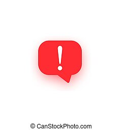 Exclamation vector icon, important mark, attention logo, warning speech bubble, red stop sign, illustration with shadow on white