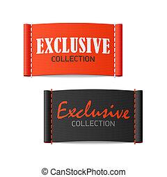 exclusief, etiketten, verzameling