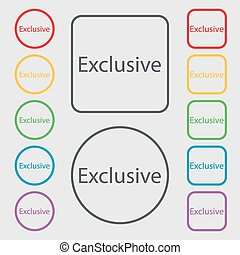 exclusief, plein, frame., aanbod, symbool., meldingsbord, knopen, vector, symbolen, icon., ronde, bijzondere