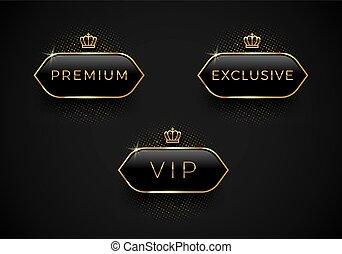 exclusief, premie, gouden, frame, etiketten, kroon, glas, black , achtergrond., vip