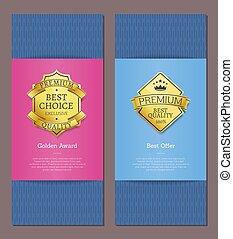 exclusief, product, premie, goud, etiketten, kwaliteit