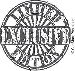 exclusief, vector, grunge, postzegel