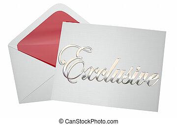 exclusif, mot, enveloppe, illustration, invitation, événement, 3d