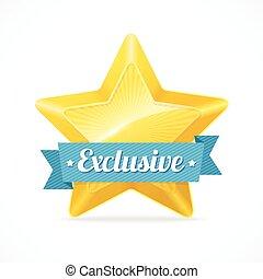 exclusif, vecteur, étoile, label., illustration