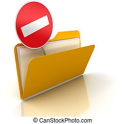 3d render of Exclusion folder. White background.
