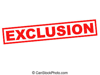 EXCLUSION red Rubber Stamp over a white background.