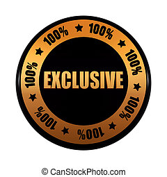 exclusive 100 percentages in golden black circle label