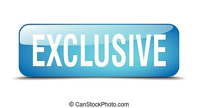 exclusive blue square 3d realistic isolated web button