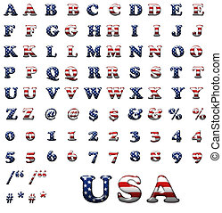 Exclusive collection letters set with american stars and...