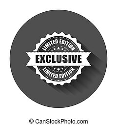 Exclusive grunge rubber stamp. Vector illustration with long shadow. Business concept exclusive limited edition stamp pictogram.