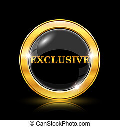 Exclusive icon - Golden shiny icon on black background -...