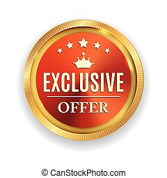 Exclusive Offer Golden Medal Icon Seal  Sign Isolated on White Background. Vector Illustration