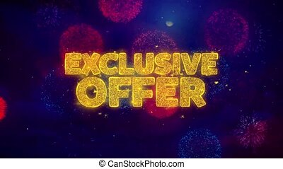 Exclusive Offer Greeting Text Sparkle Particles on Colored Fireworks