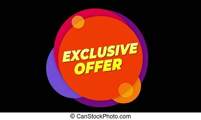 Exclusive Offer Text Sticker Colorful Sale Popup Animation...