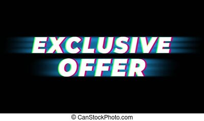 Exclusive Offer Text Glitch Effect Promotion Commercial Loop Background. Price Tag, Sale, Discounts, Deals, Special Offers, Green Screen and Alpha Matte