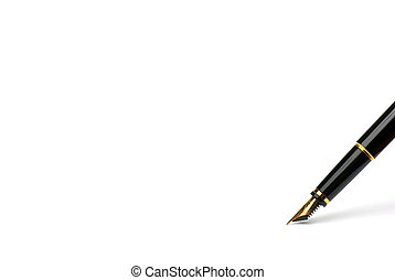 Exclusive pen. - Side view of fountain pen with golden nib.