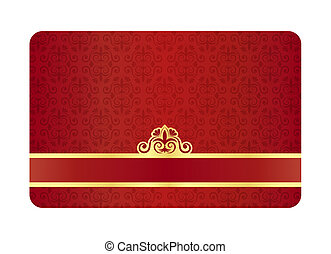 Exclusive red card with vintage floral pattern