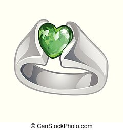Exclusive ring made of white gold with inlaid green emerald...