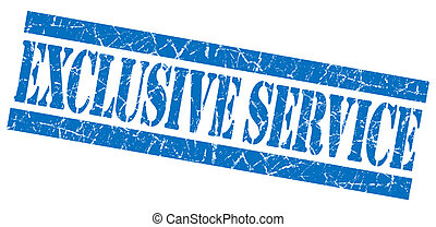 Exclusive service blue grunge stamp