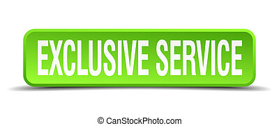 exclusive service green 3d realistic square isolated button