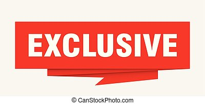 exclusive sign. exclusive paper origami speech bubble. ...