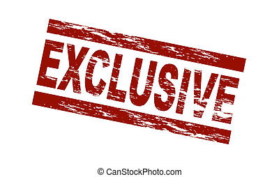 Stylized red stamp showing the term exclusive. All on white background.