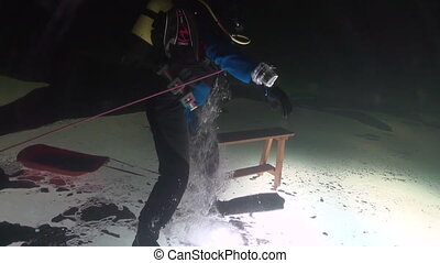 Exclusive trick diver underwter in ice of White Sea....