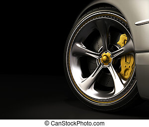 Exclusive Wheel - Chromed wheel with yellow details....