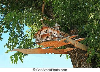 exclusivo, crone, árvore, starling, casa