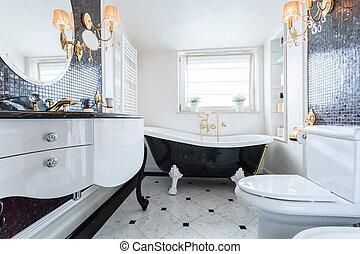 exclusivo, cuarto de baño, en, lujo, mansión